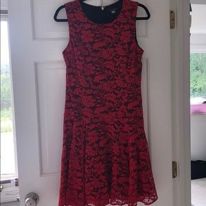 Tommy Hilfiger Red and Black Lace Drop Waist Dress